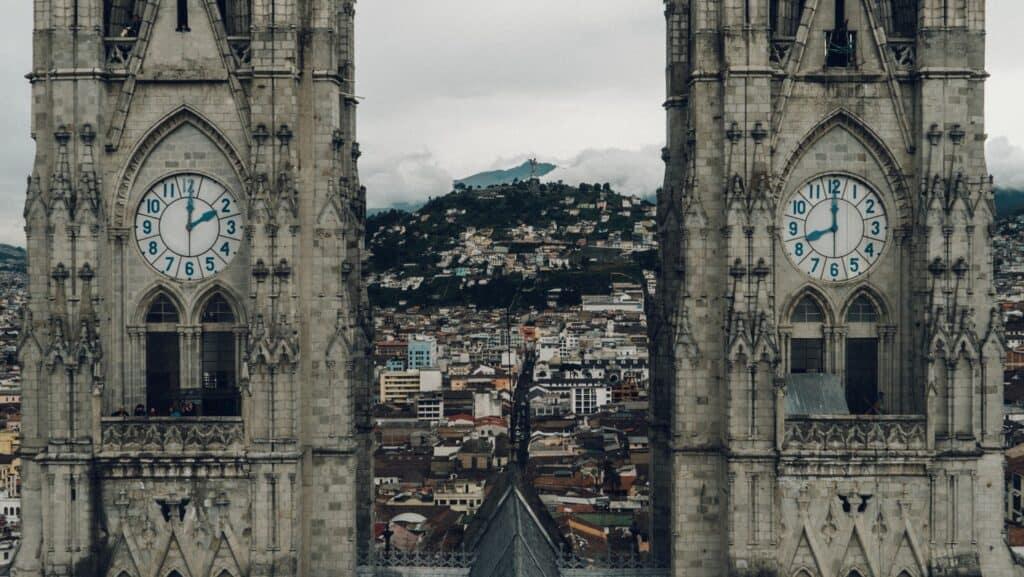 Clock towers in Quito, Ecuador