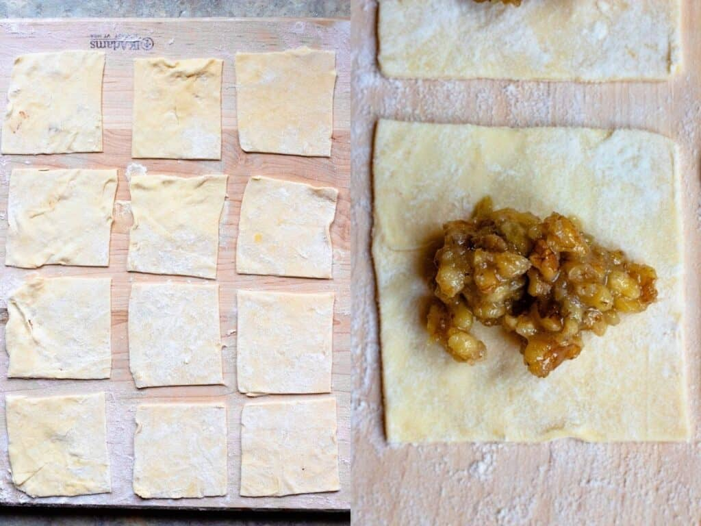 collage for how to roll out dough for walnut cookie recipe
