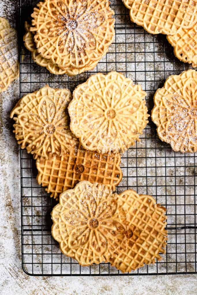 pizzelle on a drying rack