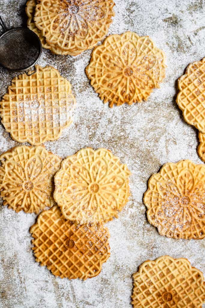 overhead view of Pizzelle Cookie Recipe