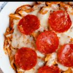 Pizza Pasta Bake Pinterest Image Top Black Banner