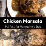 Valentine's Day Chicken Marsala Pinterest Image middle black banner
