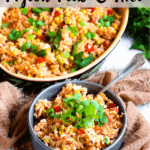 Pigeon Peas and Rice Pinterest Image Top Striped Banner