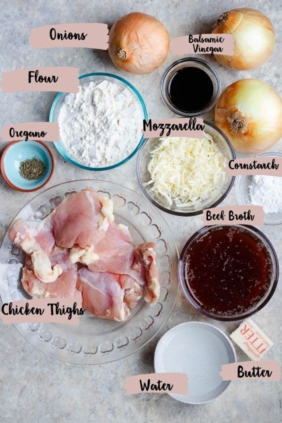 Labeled photo with chicken ingredients