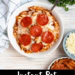Pizza Pasta Bake Pinterest Image Bottom Black Banner
