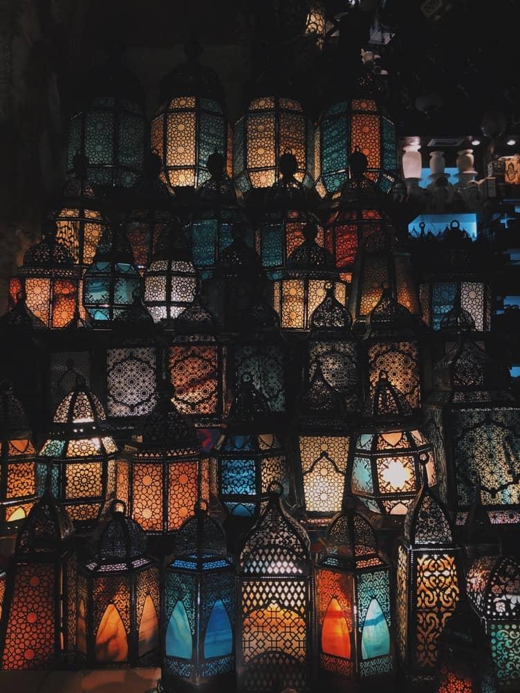 lanterns lid up in the dark