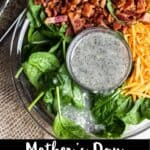 Mother's Day Spinach Salad Pinterest Image bottom black banner