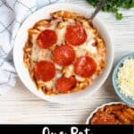One Pot Pizza Pasta Bake Pinterest Image bottom black banner