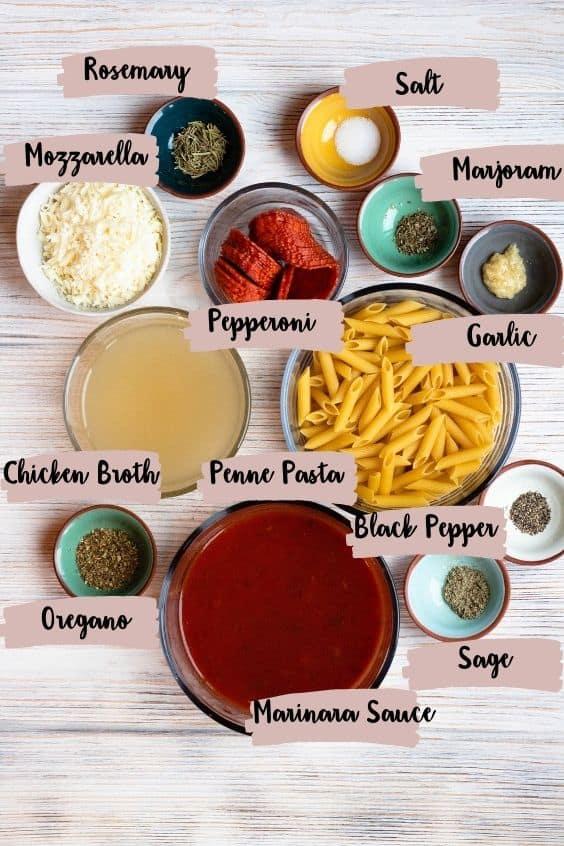 Labeled ingredient sheet