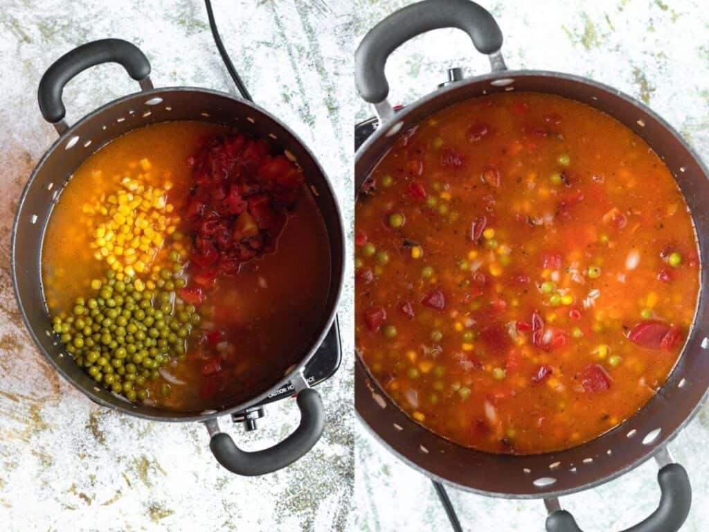 Collage of rice with broth, peas, and corn cooking in a pot
