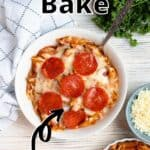 One Pot Pizza Pasta Bake Pinterest Image top outlined title