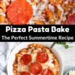 Summertime Pizza Pasta Bake Pinterest Image middle black banner