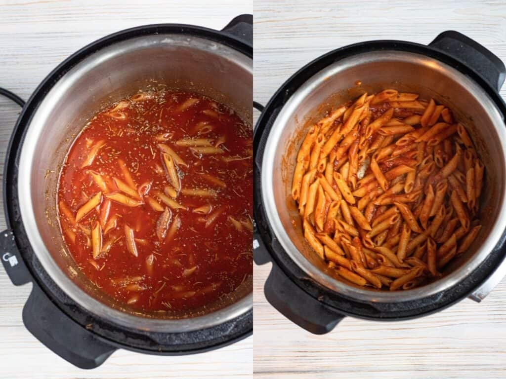 collage of cooking penne in the instant pot