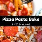 One Pot Pizza Pasta Bake Pinterest Image middle black banner