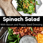 Spinach Salad with Bacon and Poppy Seed Dressing Pinterest Image Middle Black Banner