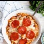 Summertime Pizza Pasta Bake Pinterest Image top black banner
