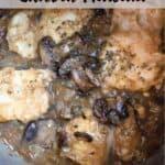 Valentine's Day Chicken Marsala Pinterest Image top striped banner