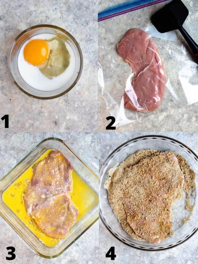 collage of preparing the schnitzel