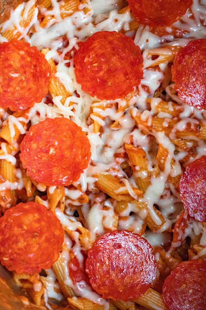 Close up of Instant Pot Pizza pasta with cheese and pepperoni