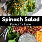 Easter Spinach Salad Pinterest Image middle black banner