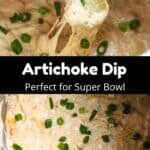 Super Bowl Artichoke Dip Pinterest Image middle black banner