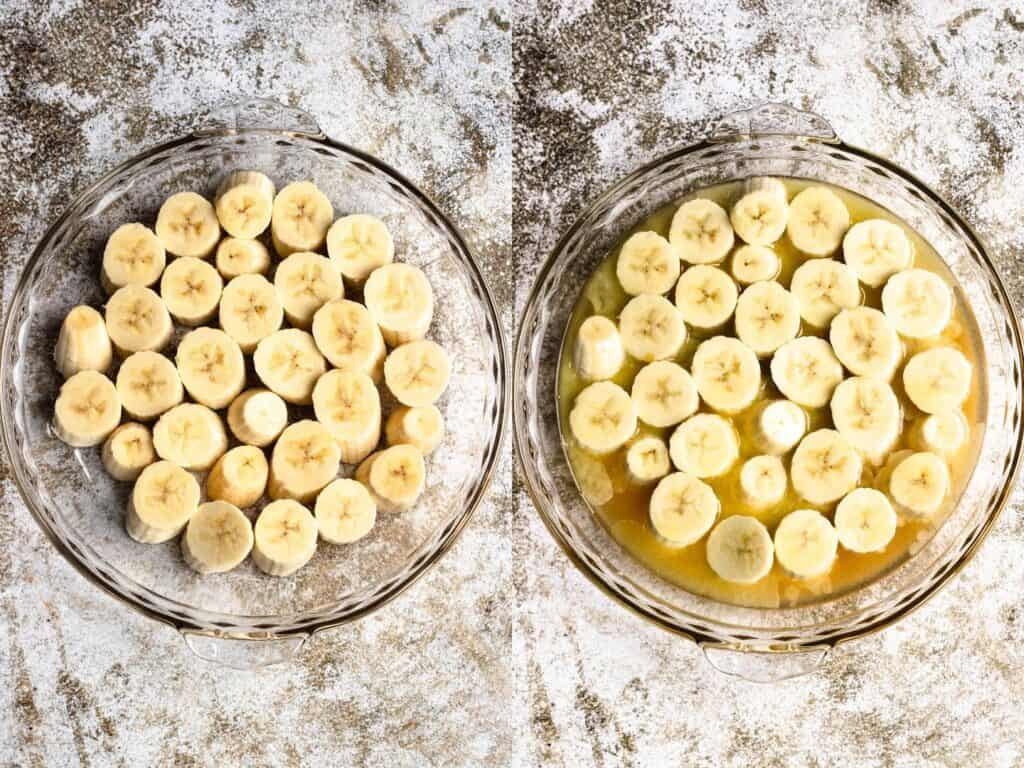 Collage of bananas in a baking tray