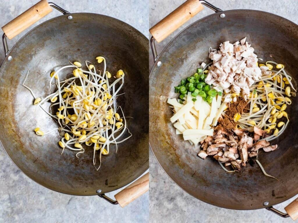 Collage of filling ingredients in a wok
