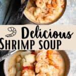Delicious Shrimp Soup Pinterest Image middle design banner