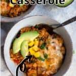 Stuffed Pepper Casserole Pinterest Image top outlined title