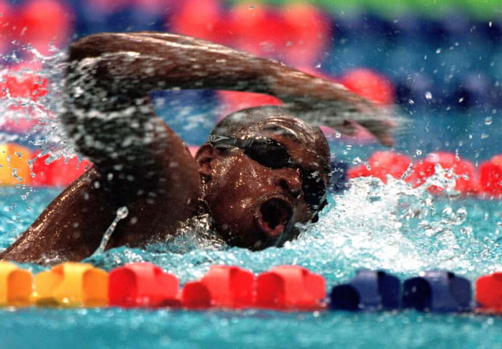 "Eric ""the Eel"" Moussambani swimming in the 2000 Olympics"