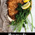Homemade Wiener Schnitzel Pinterest Image Bottom Black Banner
