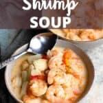 Delicious Shrimp Soup Pinterest Image top design banner