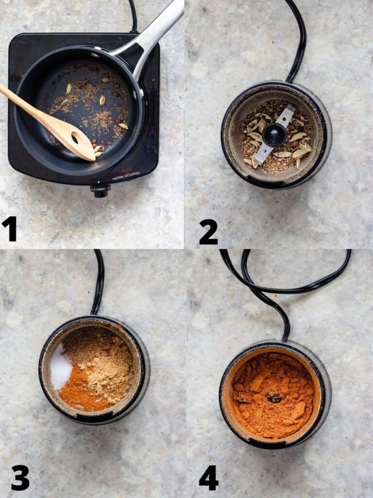 Collage of how to make berbere spice blend