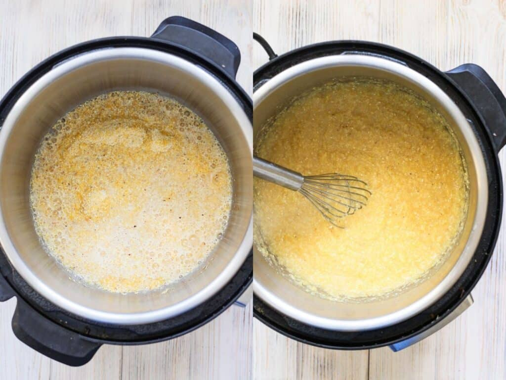 Collage of polenta before cooking and after cooking