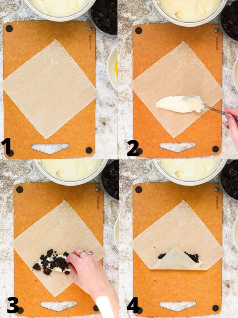 Collage of laying cream cheese and Oreo filling in egg roll wrappers