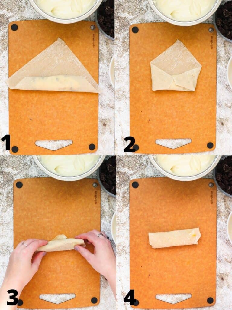 Collage of wrapping egg rolls