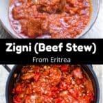 Eritrean Beef Stew Pinterest Image middle black banner