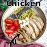 Instant Pot Basil Pesto Chicken Pinterest Image top outlined title