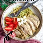 Summertime Basil Pesto Chicken Pinterest Image top outlined title