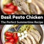 Summertime Basil Pesto Chicken Pinterest Image middle black banner