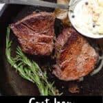 Cast Iron Filet Steak Pinterest Image bottom black banner