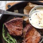 Cast Iron Filet Steak Pinterest Image top black banner