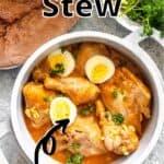 Instant Pot Chicken Stew Pinterest Image bottom black banner top outlined title