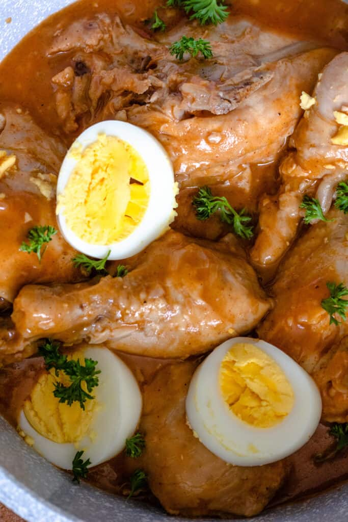 Cooked chicken with hard boiled eggs