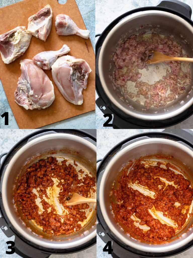 Collage of Cooking onions with tomato sauce for doro wat