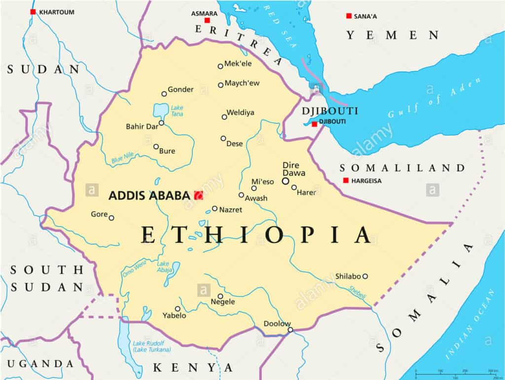 Ethiopia on a map