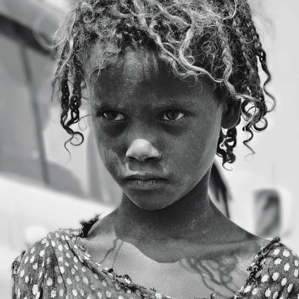 Black and white photo of Ethiopian girl