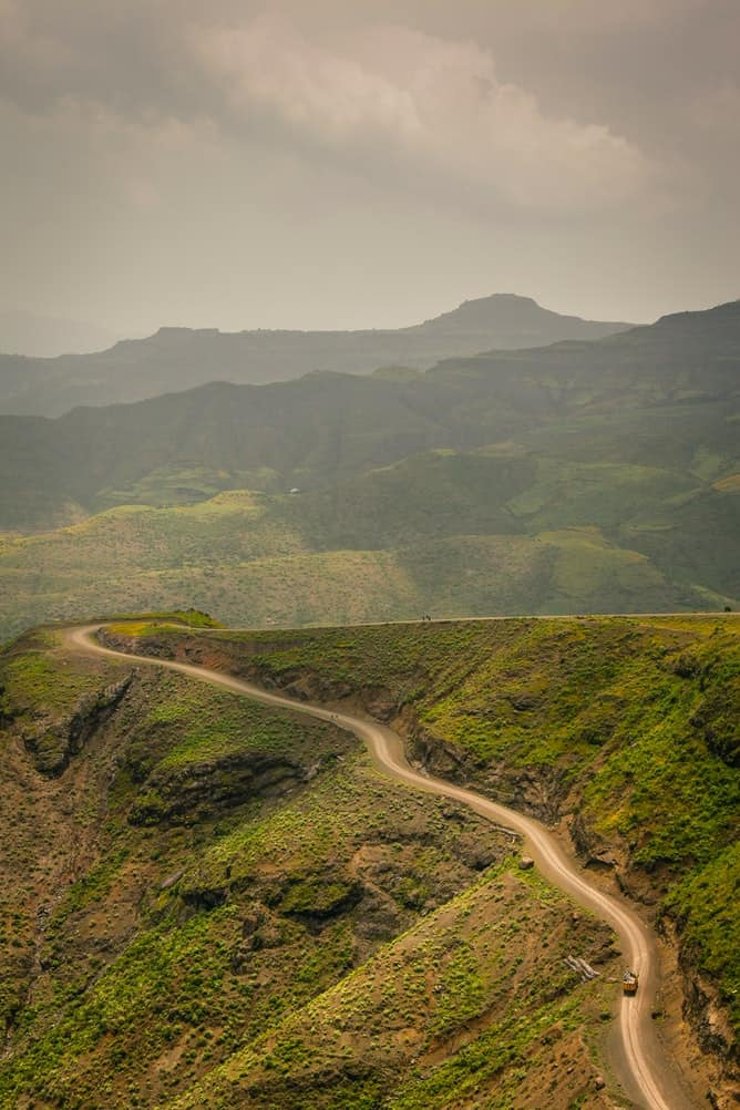 mountain road in Ethiopia