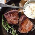 Cast Iron Filet Steak Pinterest Image top outline title