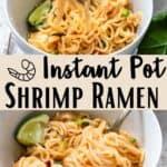 Instant Pot Shrimp Ramen Noodles Pinterest Image middle design banner